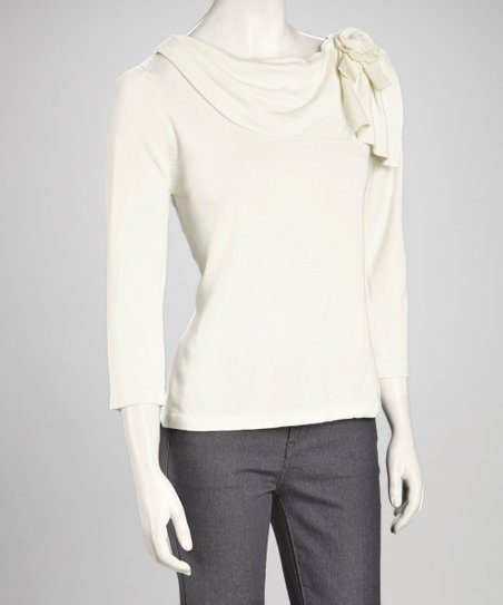 White Rosette Drape Sweater