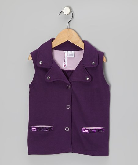Shadow Purple Sequin Vest - Girls