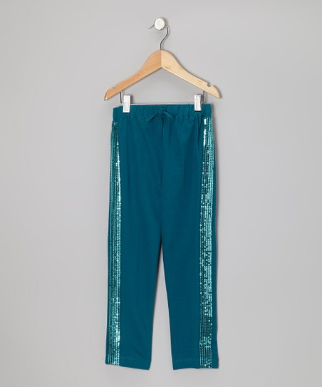 Blue Coral Sequin Pants - Girls