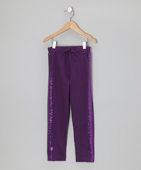 Shadow Purple Sequin Pants - Girls