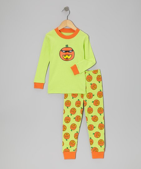 Lime & Orange Jack-o'-Lantern Pajama Set - Boys