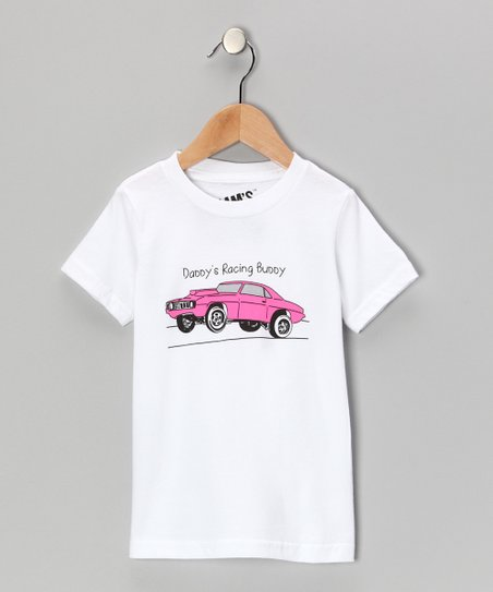 White & Pink 'Daddy's Racing Buddy' Tee - Toddler & Girls