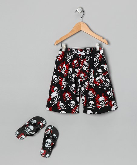 Black Fire Skull Boardshorts & Flip-Flops - Boys