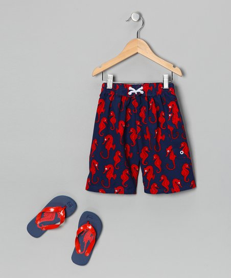 Blue Sea Horse Boardshorts & Flip-Flop - Boys