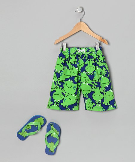 Green Frog Boardshorts &amp; Flip-Flops - Boys