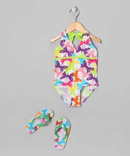 White Butterfly One-Piece & Flip-Flop - Girls