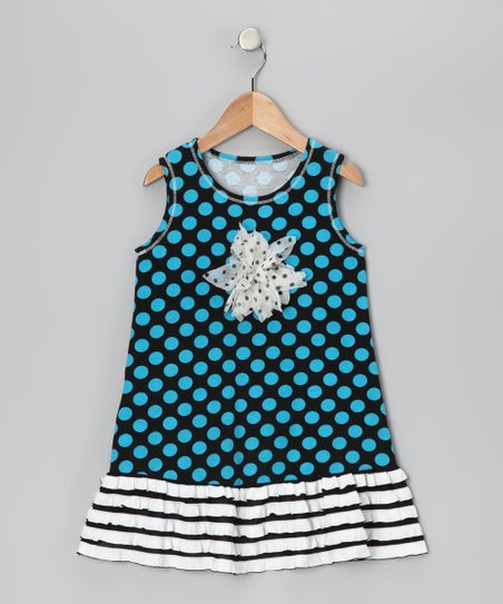 Black & Turquoise Polka Dot Ruffle Dress - Toddler & Girls