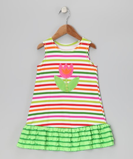White & Green Stripe Flower Ruffle Dress - Toddler & Girls