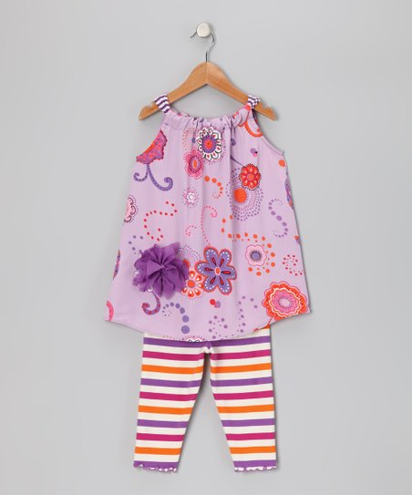 Purple Floral Swing Tunic & Capri Leggings - Toddler & Girls