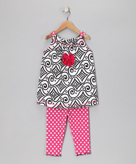 White Abstract Swing Tunic &amp; Capri Leggings - Toddler &amp; Girls