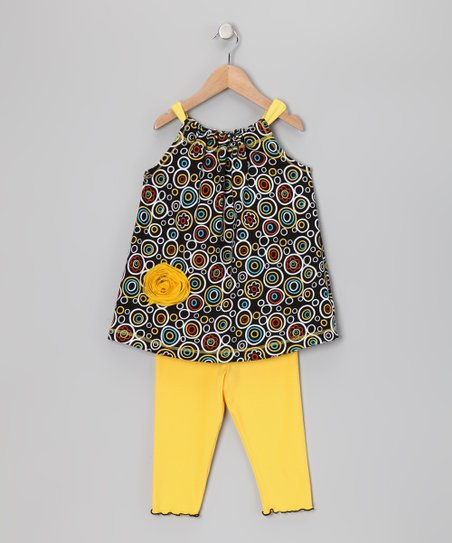 Black Circle Swing Tunic &amp; Capri Leggings - Toddler &amp; Girls