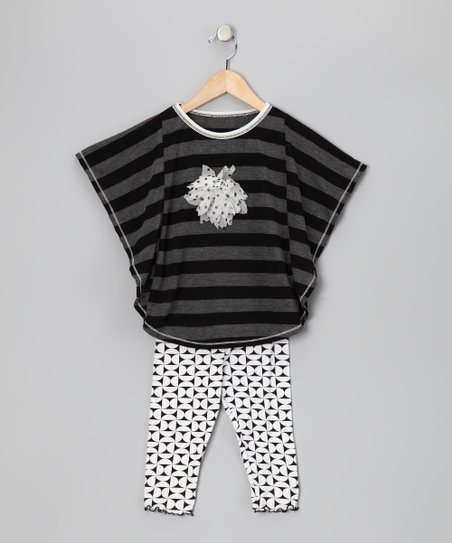 Black Stripe Cape-Sleeve Top & Capri Leggings - Toddler & Girls