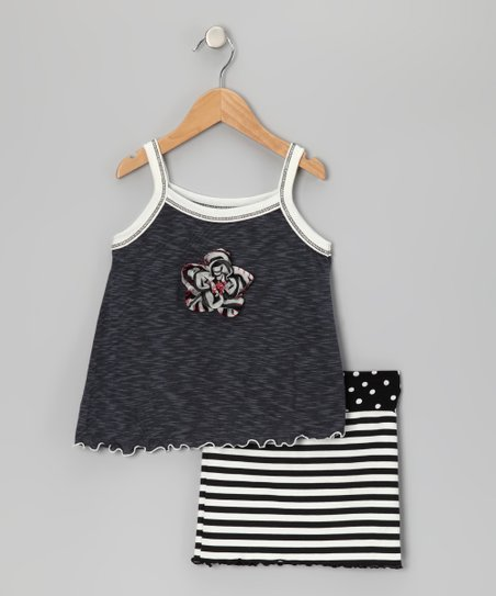 Gray Flower Tank &amp; Black Stripe Skirt - Toddler &amp; Girls
