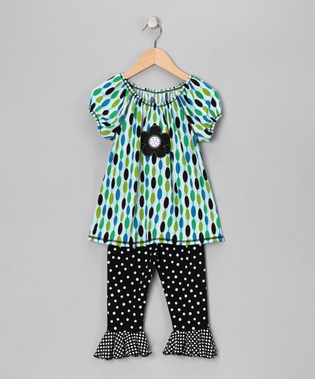 Blue Mod Peasant Top & Capri Leggings - Toddler & Girls