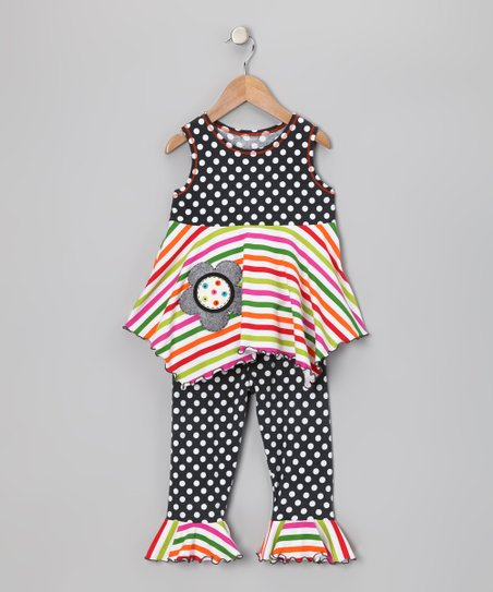 Gray Polka Dot &amp; Stripe Top &amp; Capri Leggings - Toddler &amp; Girls