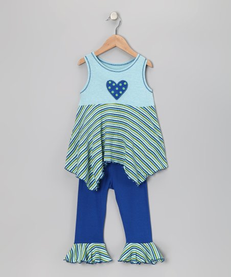 Aqua Stripe Handkerchief Top & Capri Leggings - Toddler & Girls