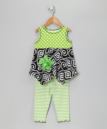 Green Polka Dot Handkerchief Top &amp; Leggings - Toddler &amp; Girls