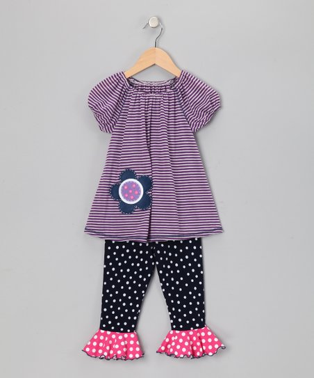 Purple Stripe Peasant Top & Leggings - Toddler & Girls