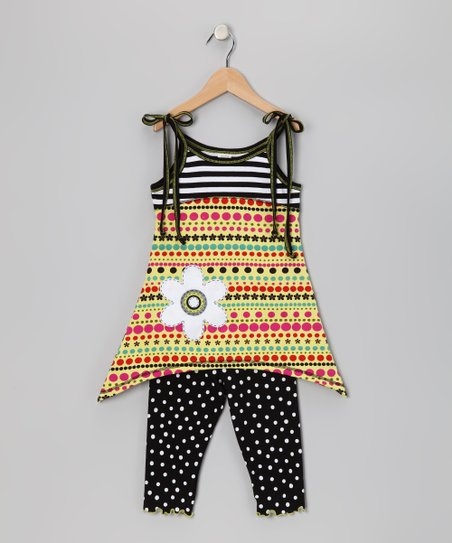 Citrus & Black Crazy Dot Tunic & Capri Leggings - Toddler & Girls