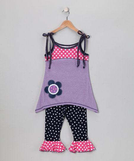 Lavender Polka Dot Tunic & Capri Leggings - Toddler & Girls