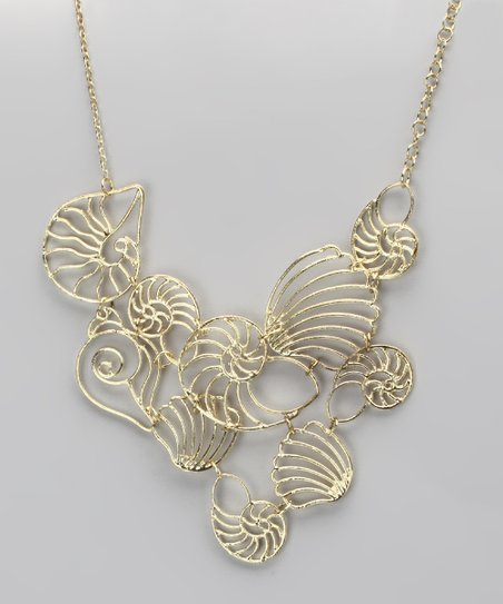 Gold Filigree Seashell Necklace