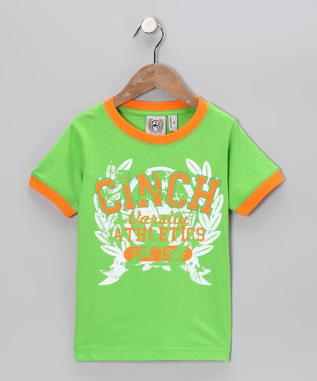Lime 'Cinch Varsity' Ringer Tee - Toddler