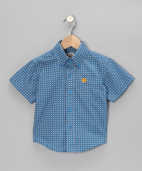 Navy Weave Button-Up - Toddler & Boys