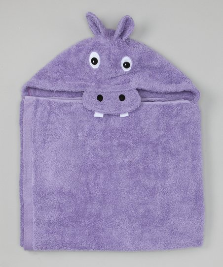 Purple Hippo Hooded Towel