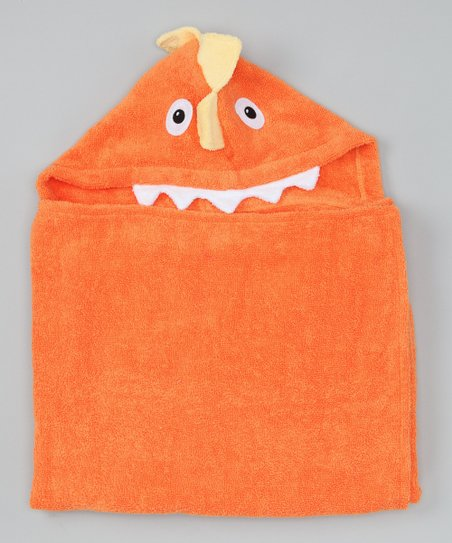 Orange Dinosaur Hooded Towel