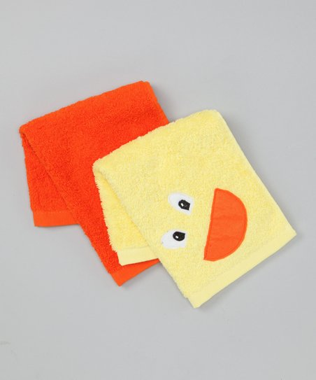 Yellow & Orange Duck Washcloth Set