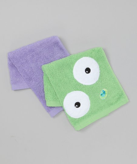 Green & Purple Monster Washcloth Set