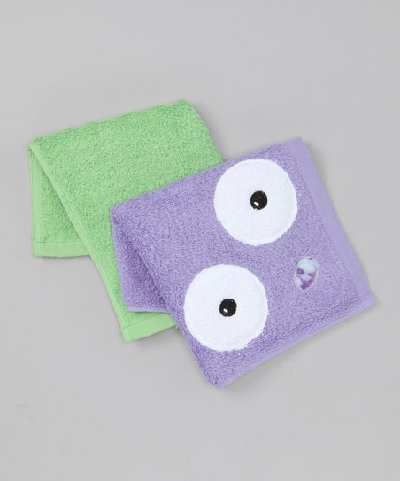 Purple & Green Monster Washcloth Set