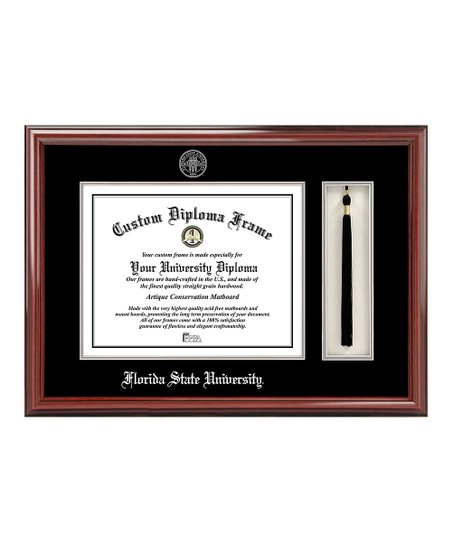 Florida State Silver Seal Petite Cherry Diploma & Tassel Frame
