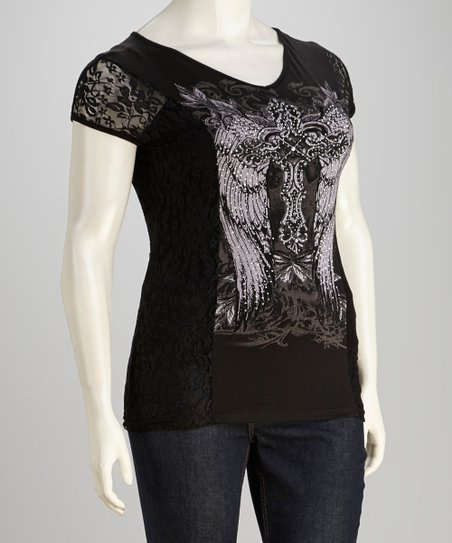 Black Lace Winged Cross Top - Women & Plus