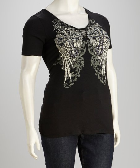 Black Rhinestone Winged Cross Tee - Women & Plus