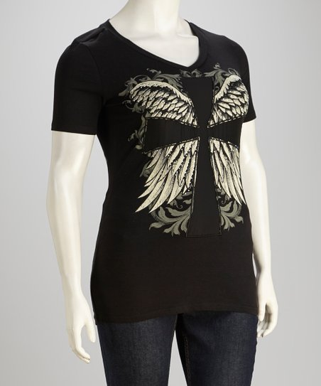 Black Sheer Cross Tee - Women & Plus
