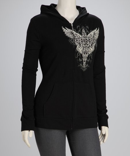 Black Winged Cross Plus-Size Zip-Up Hoodie