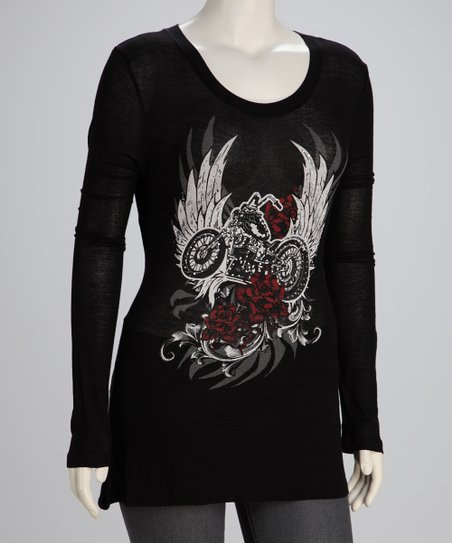 Black Motorcycle Plus-Size Long-Sleeve Top