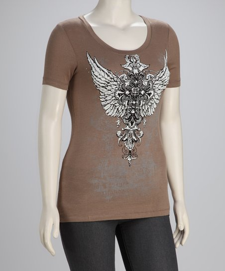 Mocha Winged Cross Plus-Size Scoop Neck Top