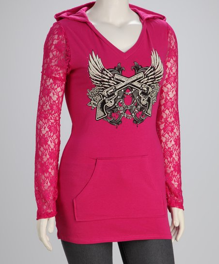 Hot Pink Wings Plus-Size Lace-Sleeve Hoodie