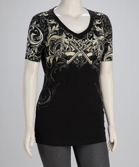 Black Floral Plus-Size V-Neck Top