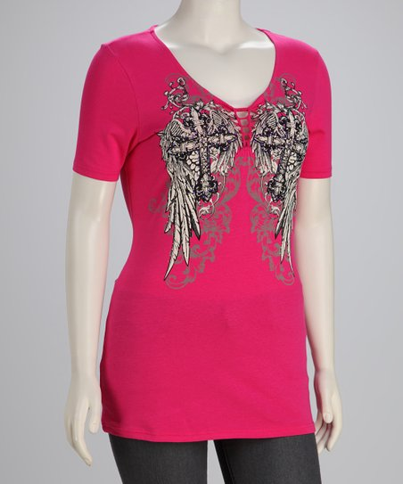 Hot Pink Winged Crosses Plus-Size V-Neck Top