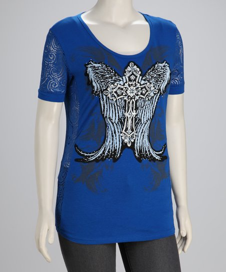 Royal Blue Winged Cross Plus-Size Scoop Neck Top