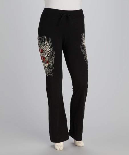 Black Winged Cross Plus-Size Lounge Pants