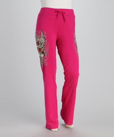 Hot Pink Winged Cross Plus-Size Lounge Pants