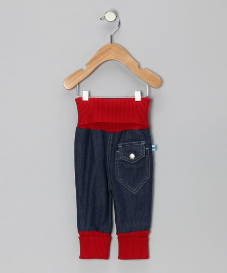 Red & Midnight Wash Ribbed Organic Baggy Jeans - Infant