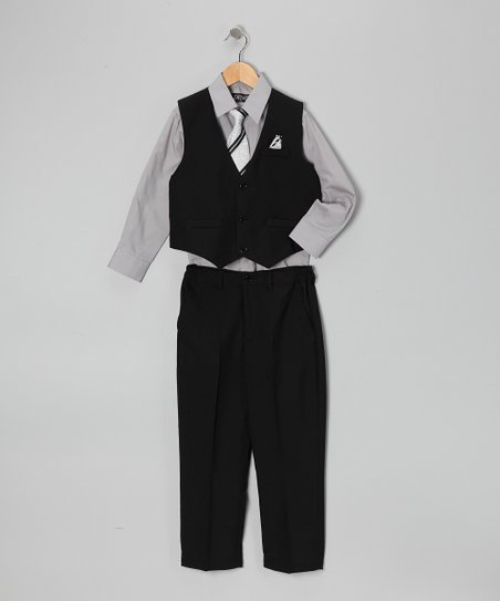 Black & Gray Four-Piece Vest Set - Infant, Toddler & Boys