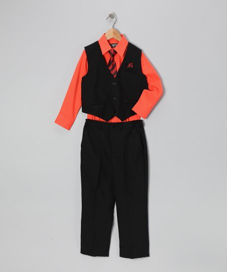 Black & Orange Vest Set - Infant, Toddler & Boys