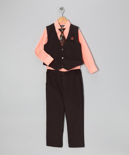 Black & Peach Four-Piece Vest Set - Infant, Toddler & Boys