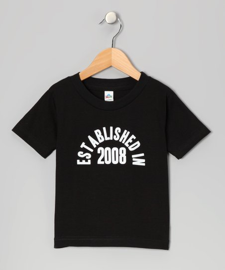 Black 'Established in 2008' Tee - Toddler & Kids